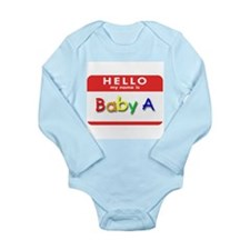 Cute Hello nametag Long Sleeve Infant Bodysuit