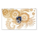 Massachusetts Flag Sticker (Rectangle 10 pk)