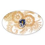 Massachusetts Flag Sticker (Oval 50 pk)