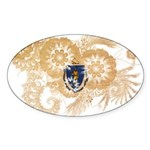 Massachusetts Flag Sticker (Oval 10 pk)
