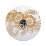 Massachusetts Flag Ornament (Round)