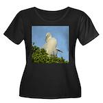 Great Egret Women's Plus Size Scoop Neck Dark T-Sh