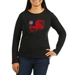 Myanmar Flag Women's Long Sleeve Dark T-Shirt