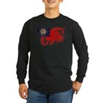 Myanmar Flag Long Sleeve Dark T-Shirt