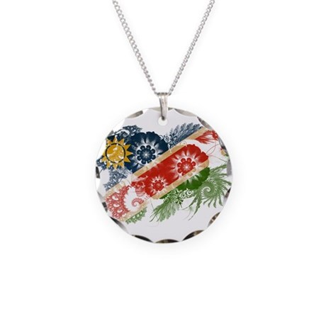 Namibia Flag Necklace Circle Charm