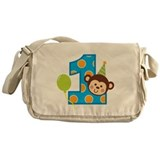 Boy Monkey 1st Birthday Messenger Bag