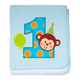 Boy Monkey 1st Birthday baby blanket