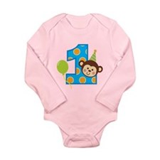 Boy Monkey 1st Birthday Long Sleeve Infant Bodysui