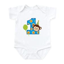 Boy Monkey 1st Birthday Infant Bodysuit