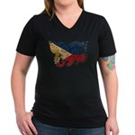 Philippines Flag Women's V-Neck Dark T-Shirt
