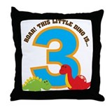 Dinosaur 3rd Birthday Throw Pillow