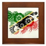 Saint Kitts Nevis Flag Framed Tile