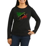 Saint Kitts Nevis Flag Women's Long Sleeve Dark T-
