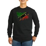 Saint Kitts Nevis Flag Long Sleeve Dark T-Shirt