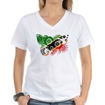 Saint Kitts Nevis Flag Women's V-Neck T-Shirt