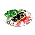 Saint Kitts Nevis Flag 22x14 Oval Wall Peel