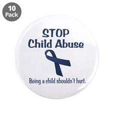 "Stop Child Abuse It Hurts 3.5"" Button (10 pack)"