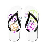 Colored Peace Signs Dance Flip Flops