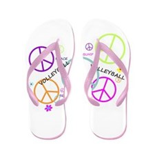 Colored Peace Signs Volleyball Flip Flops