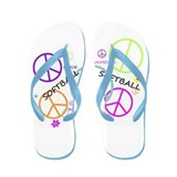 Colored Peace Signs Softball Flip Flops