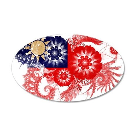 Taiwan Flag 22x14 Oval Wall Peel