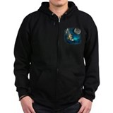 Northern Lights Wolfs Family Moon Zip Hoody