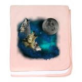 Northern Lights Wolfs Family Moon baby blanket