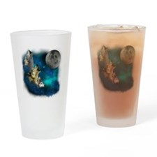 Northern Lights Wolfs Family Moon Drinking Glass