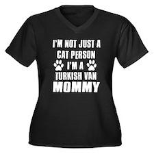 Turkish Van Cat Design Women's Plus Size V-Neck Da