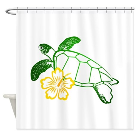 Sea turtle hibiscus yellow shower curtain by hawaiidolphin for Coral reef bathroom decor