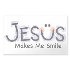 Jesus Makes Me Smile: Rectangle Decal