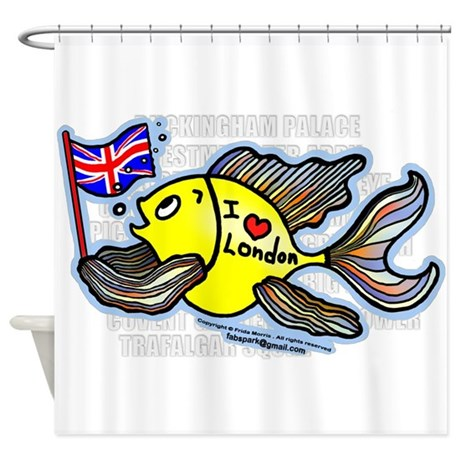 I Love London Fish Shower Curtain