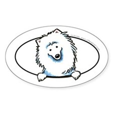 American Eskimo Dog Eskie Peeking Bumper Decal