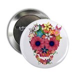 "Skull Flowers by WAM 2.25"" Button"