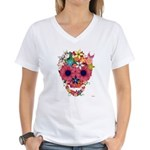 Skull Flowers by WAM Women's V-Neck T-Shirt