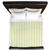 Painted Retro stripes green King Duvet