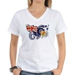 Turks and Caicos Flag Women's V-Neck T-Shirt