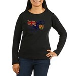Turks and Caicos Flag Women's Long Sleeve Dark T-S