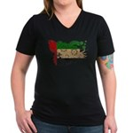 United Arab Emirates Flag Women's V-Neck Dark T-Sh