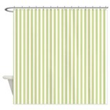 Painted Retro stripes green Shower Curtain