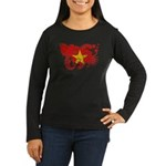 Vietnam Flag Women's Long Sleeve Dark T-Shirt