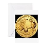 Black-Gold Buffalo Greeting Cards (Pk of 10)