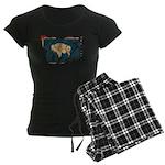 Wyoming Flag Women's Dark Pajamas