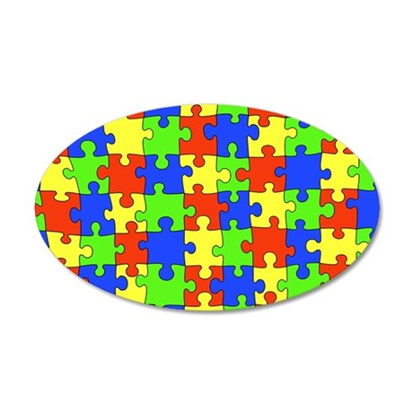 Autism Puzzle 38.5 x 24.5 Oval Wall Peel