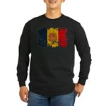 Andorra Flag Long Sleeve Dark T-Shirt