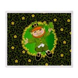 Lucky the Leprechaun Irish Throw Blanket