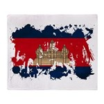 Cambodia Flag Throw Blanket