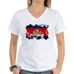 Cambodia Flag Women's V-Neck T-Shirt