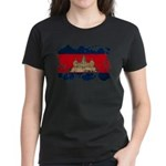 Cambodia Flag Women's Dark T-Shirt