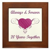 20th Anniversary Heart Framed Tile